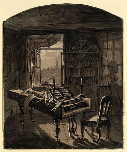 Johann Nepomuk Hechle, Beethovens Arbeitszimmer, 1827, Tusche auf Papier (Wien Museum © Wien Museum)