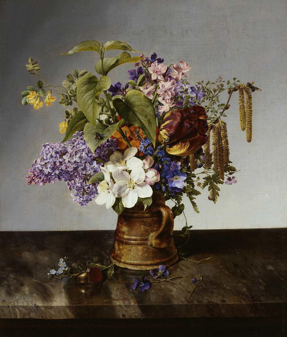 Johann Wilhelm Preyer, Gartenblumenstrauß im Krug, Öl auf Leinwand, 41 x 36 cm (© Staatliche Museen zu Berlin, Nationalgalerie / Jörg P. Anders)