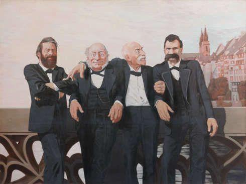 Johannes Grützke, Böcklin, Bachofen, Burckhardt und Nietzsche auf der Mittleren Rheinbrücke in Basel, 1970, Öl/Lw, 250 x 330 cm (von Bartha Collection Basel)