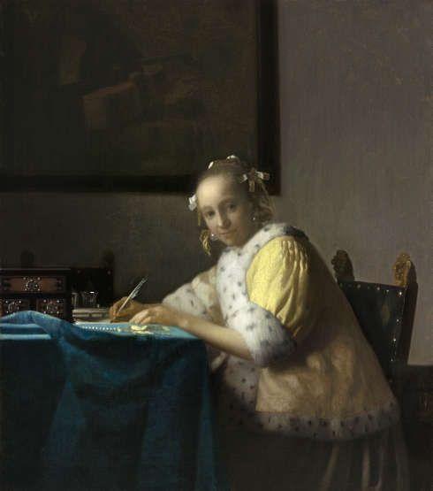 Johannes Vermeer, Briefschreiberin in Gelb, um 1665–1667, Öl auf Holz, 45 x 39.9 cm (Washington, National Gallery
