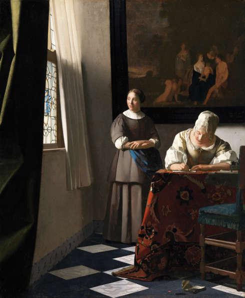 Johannes Vermeer, Briefschreiberin und Dienstmagd, um 1670, Öl auf Leinwand, 72.2 x 59.7 cm (Dublin, National Gallery of Ireland)