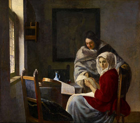 Johannes Vermeer, Die unterbrochene Musikstunde, 1660/61 (© The Frick Collection, Foto: Michael Bodycomb)