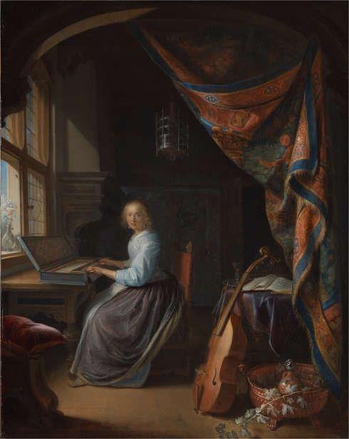 Johannes Vermeer, Eine Frau sitzt an einem Virginal, um 1671–1674, ÖlLw, 51.5 x 45.5cm (London, The National Gallery)