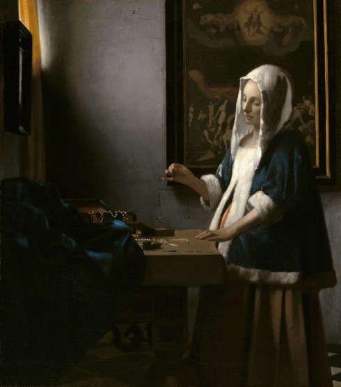 Johannes Vermeer, Frau mit der Waage, 1662–1665, Öl auf Leinwand, 39,7 x 35,5 cm (© Washington, National Gallery of Art, Widener Collection)