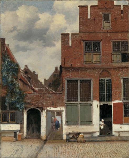 Johannes Vermeer, Häuseransicht in Delft (Die kleine Straße), um 1658, Öl auf Leinwand, 54,3 x 44 cm (© Amsterdam, Rijksmuseum, Foto: Carola van Wijk)