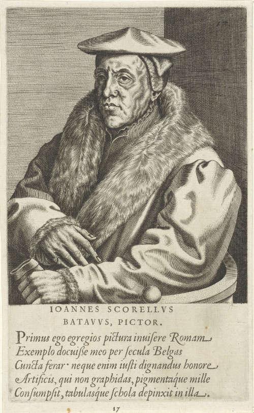 Johannes Wierix zg., Porträt des Malers Jan van Scorel, 1572, Kupferstich, 20,7 × 12,6 cm (Rijksmuseum, Amsterdam)