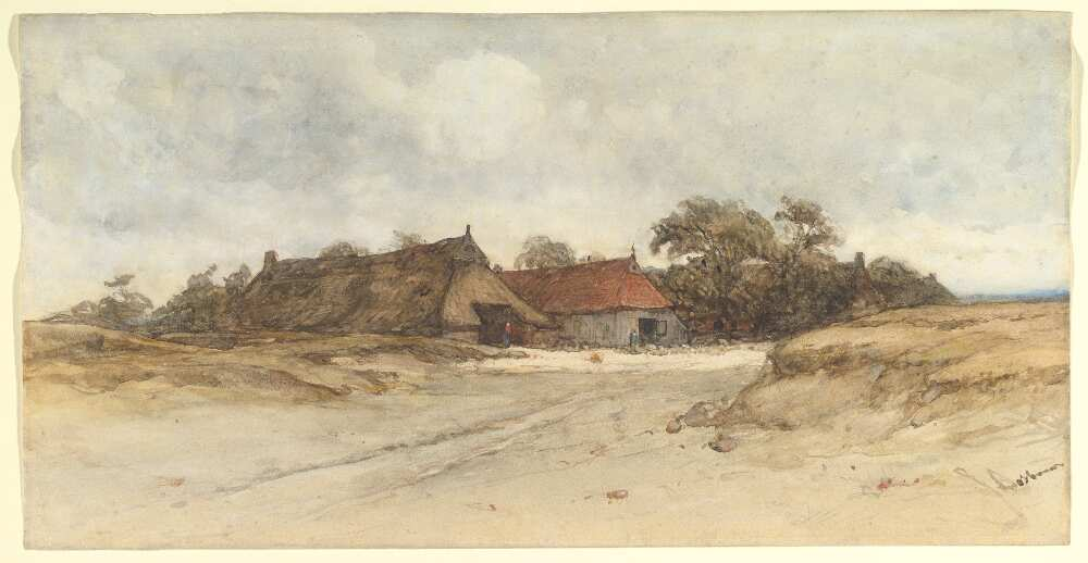 Johannes Bosboom, Bauernhäuser, Aquarell, 28 x 54.5 cm (MET, New Xork, Van Day Truex Fund, 2003)