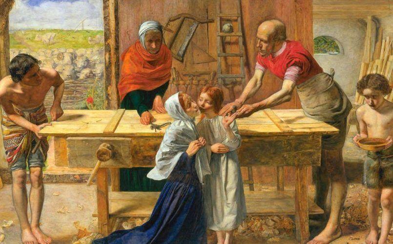 John Everett Millais, Christ in the House of His Partens or The Carpenter Shop [Christus im Haus seiner Eltern oder die Tischlerwerkstatt], Detail, 1849/50, Öl/Lw, 86,4 x 139,7 cm (Tate Britain, London)
