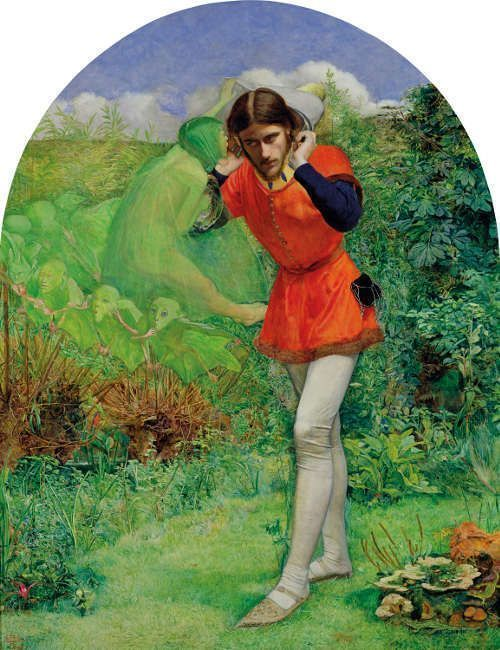 John Everett Millais, Ferdinand Lured by Ariel [Ferdinand von Ariel geködert], 1849/50, Öl auf Holz, 64,8 x 50.8 cm (The Makins Collection)