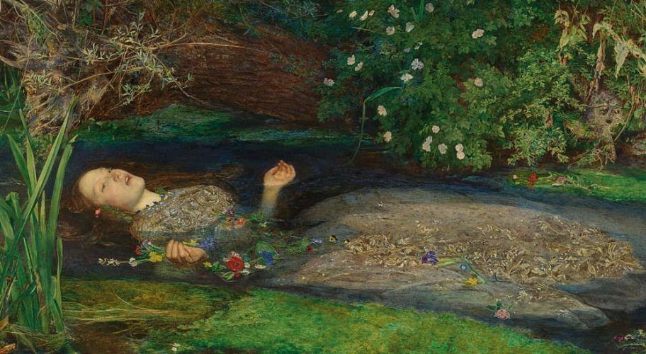 John Everett Millais, Ophelia, Detail, 1851/52, Öl/Lw, 76,2 x 111,8 cm (Tate Britain, London)
