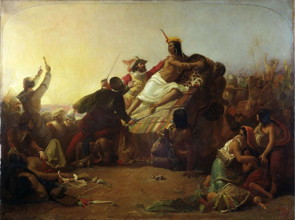 John Everett Millais, Pizarro Seizing the Inca of Peru, 1846, Öl/Lw, 128,3 x 172,1 cm (Victoria and Albert Museum, London)