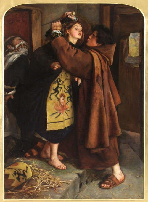 John Everett Millais, The Escape of a Heretic 1559, 1857, Öl/Lw, 106,2 x 76,2 cm (Museo de Arte de Ponce, Puerto Rico)