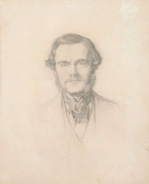 John Everett Millais, William Holman Hunt, Bleistift mit wenig Lavierung auf Papier, 1853, 23,5 x 18,9 cm (National Portrait Gallery, London, Inv.-Nr. 5834)