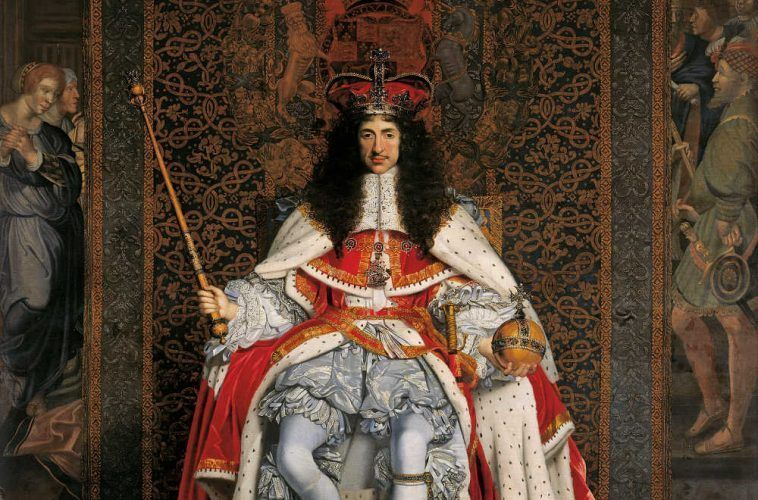 John Michael Wright, Charles II, Detail, um 1676, Öl auf Leinwand, 281,9 x 239,2 cm (Royal Collection Trust/© Her Majesty Queen Elizabeth II 2017)