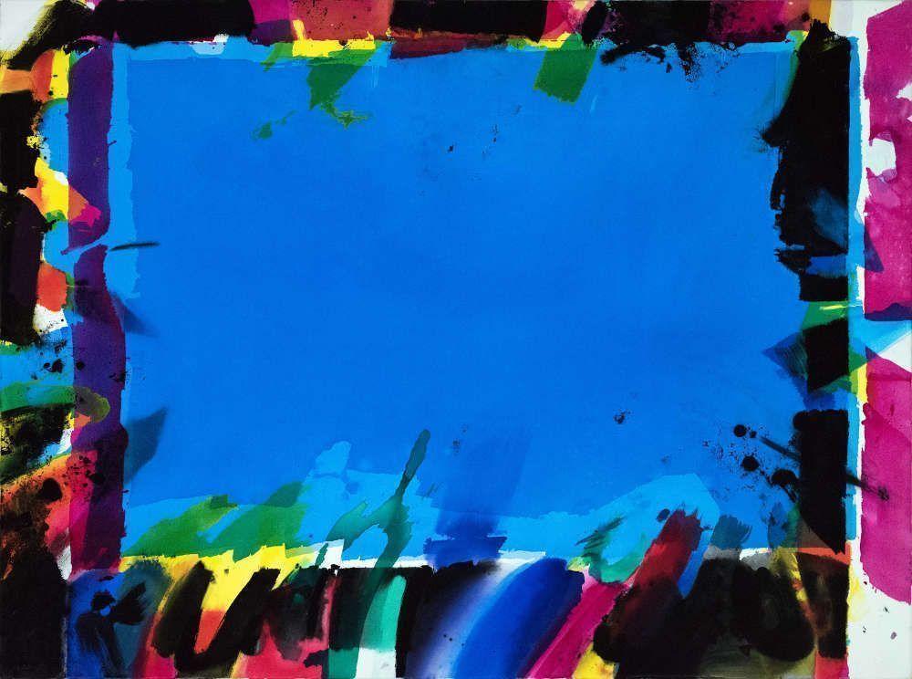 Jorg Hartig, Blaues Zentrum, 1986, 210 x 280 cm, Acryl auf Leinwand