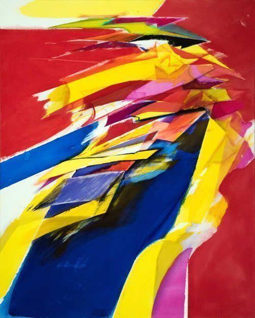 Jorg Hartig, Blauflucht, 1995, 250 x 202 cm, Acryl auf Leinwand