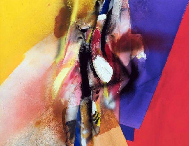 Jorg Hartig, Farbensprung, Detail 1979, Acryl auf Leinwand, 186 x 151 cm (MUSA)