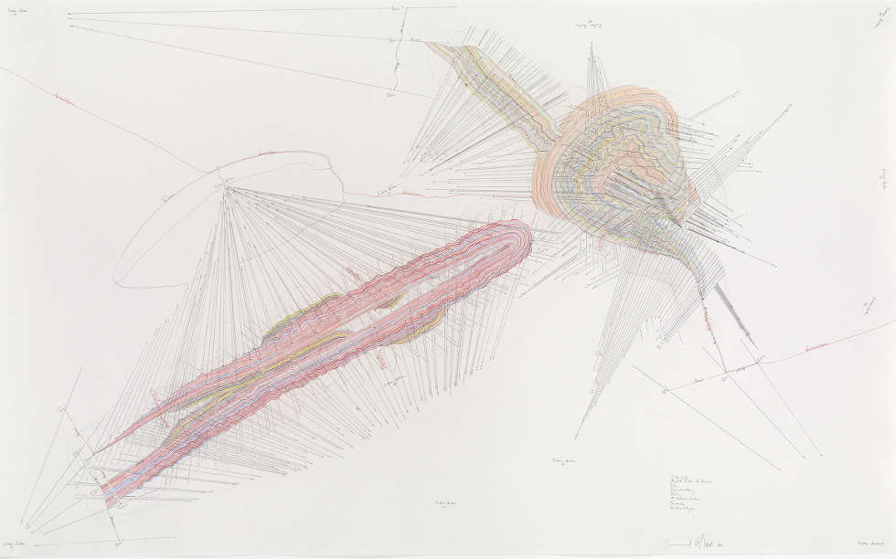 Jorinde Voigt, Horizonte, 2010, Grafit, Filzstift, Buntstift und Tinte auf Papier, 103 x 165 cm (Schenkung der Sammlung Florence und Daniel Guerlain, 2012 | Centre Pompidou – Musée National d'Art Moderne, Paris)