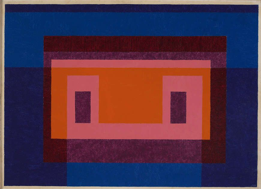 Josef Albers, Variant / Adobe, 4 Central Warm Colors Surrounded by 2 Blues, 1948 (Josef Albers Museum Quadrat Bottrop © 2017 The Josef and Anni Albers Foundation / VG Bild-Kunst)