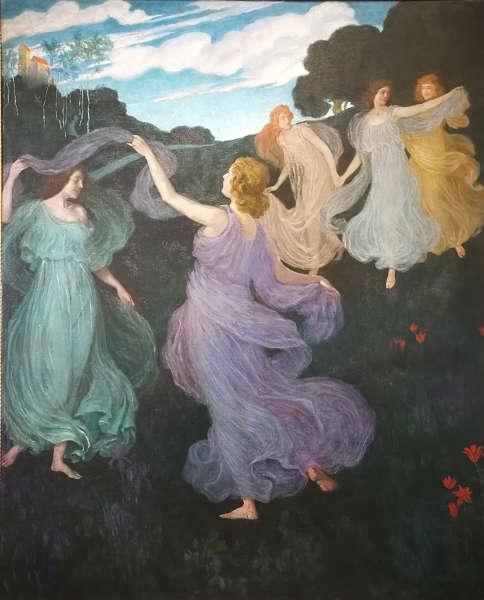 Josef Maria Auchentaller, Elfenreigen. Für das Beethoven Musikzimmer Scheid in Wien, 1899, Öl/Lw (Galerie punkt12), Foto: Alexandra Matzner | ARTinWORDS