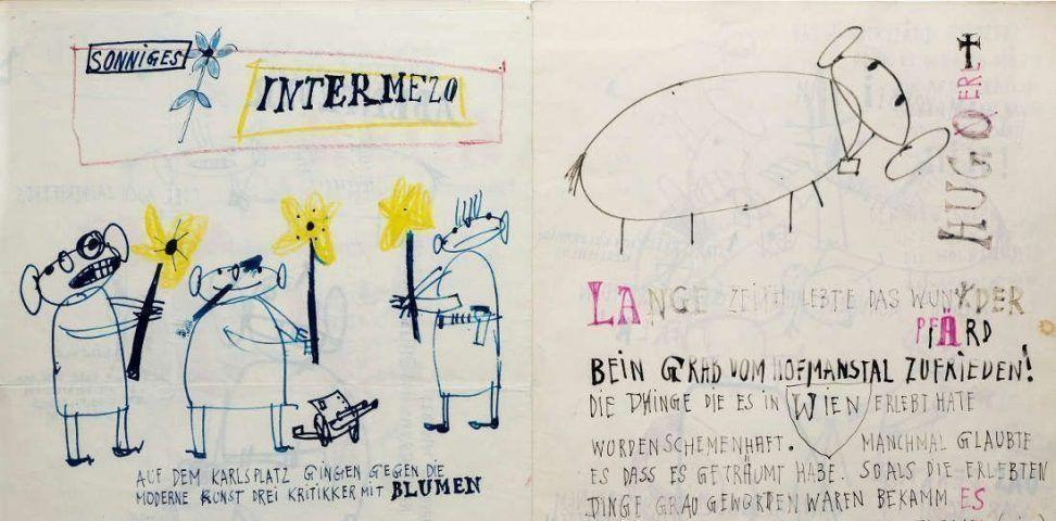 Josef Mikl, Letzte Reise des Wunderpferdes auch Zauberpferd genannt, Detail, 1951 © Wien Museum
