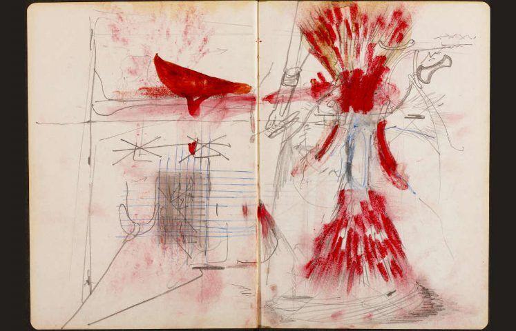 Joseph Beuys, Joseph Beuys verlängert im Auftrag von James Joyce den Ulysses um sechs weitere Kapitel, Heft 3, Doppelseite (© Hessisches Landesmuseum Darmstadt, VG Bild-Kunst, Bonn 2019)