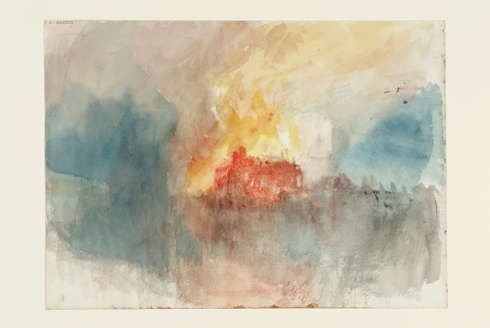 Joseph Mallord William Turner, Fire at the Grand Storehouse of the Tower of London, 1841, Aquarell, 23,5 x 32,5 cm (Photo © Tate)