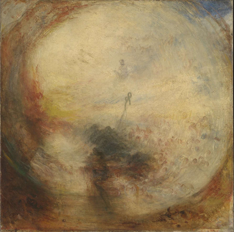 Joseph Mallord William Turner, Licht und Farbe (Goethes Theorie) – der Morgen nach der Sintflut – Moses schreibt das Buch Genesis [Light and Colour (Goethe's Theory) - the Morning after the Deluge - Moses Writing the Book of Genesis], 1843, Öl/Lw, 78,7 x 78,7 cm (Accepted by the nation as part of the Turner Bequest 1856, © Tate, London, 2018)