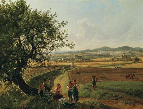 Joseph Rebell, Ansicht der Herrschaften Schloss Emmersdorf und Rothenhof mit Stift Melk im Hintergrund, 1826, Öl/Lw, 44,5 x 59 cm (Belvedere, Wien)