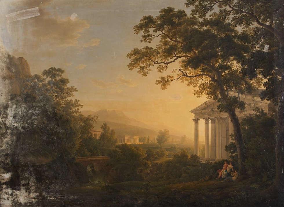 Joseph Rebell, Ideale Landschaft mit Tempelgebäuden, 1808, Öl/Lw, 179 x 243 cm (Belvedere, Wien)