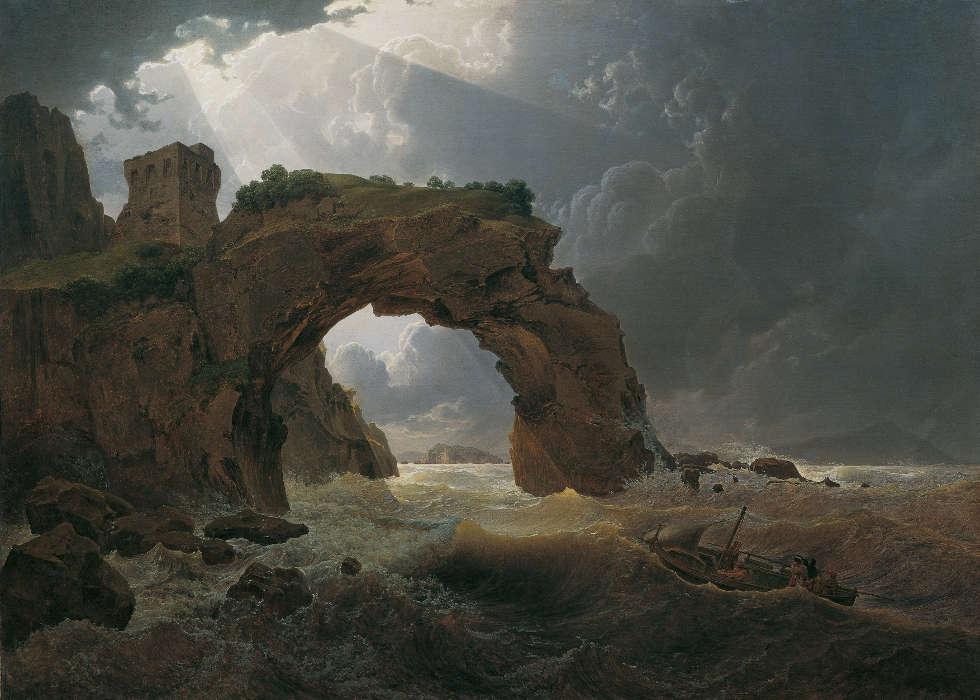 Joseph Rebell, Meeressturm beim Arco di Miseno bei Miliscola mit Blick gegen Nisida, 1819, Öl/Lw, 99 x 137 cm (Belvedere, Wien)