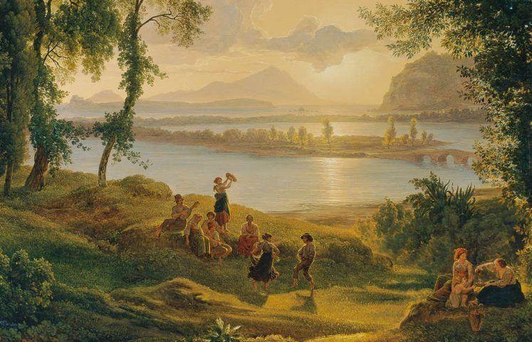 Joseph Rebell, Sonnenuntergang über den Campi Flegrei gegen die Inseln Procida und Ischia, Detail, 1819, Öl/Lw, 98 x 136 cm (Belvedere, Wien)