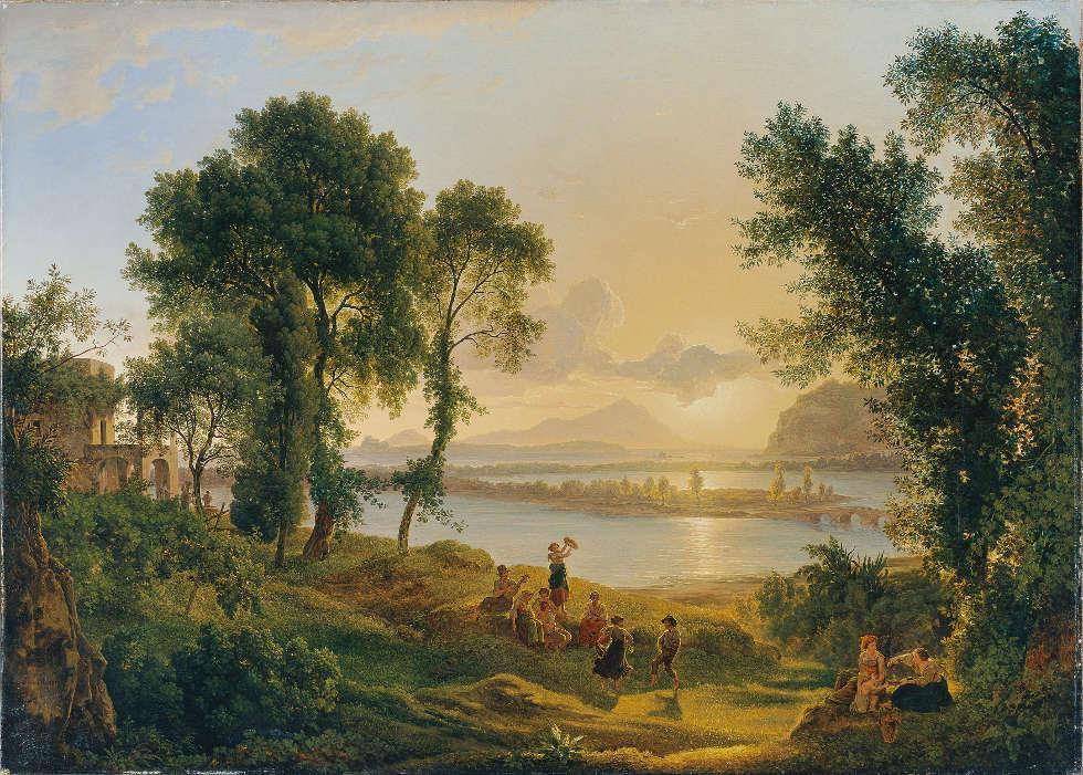 Joseph Rebell, Sonnenuntergang über den Campi Flegrei gegen die Inseln Procida und Ischia, 1819, Öl/Lw, 98 x 136 cm (Belvedere, Wien)