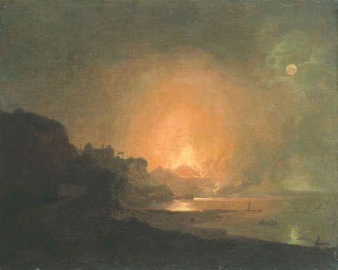 Joseph Wright of Derby, Ausbruch des Vesuvs, o. J., Öl auf Leinwand, 58,6 x 73,5 cm (© Hamburger Kunsthalle / bpk, Foto: Elke Walford)