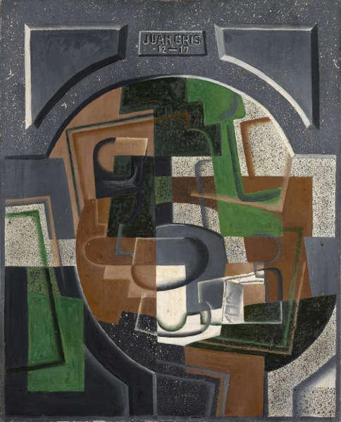 Juan Gris, Stillleben mit Schrifttafel, Dezember 1917, Öl auf Leinwand, 81 x 65.5 cm (Kunstmuseum Basel- Schenkung Dr. h.c. Raoul La Roche)