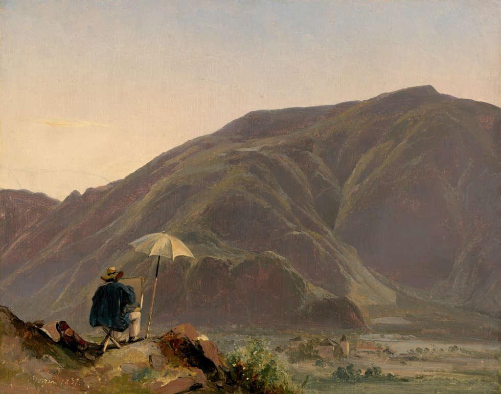 Jules Coignet, Ansicht von Bozen mit einem Maler, 1837, Öl/Papier/Lw, 31 x 39 cm (National Gallery of Art, Washington, Gift of Mrs. John Jay Ide in memory of Mr. and Mrs. William Henry Donner)