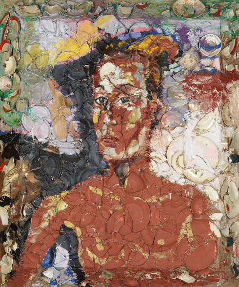 Julian Schnabel, Pandora (Jaqueline as an Etruscan), 1986, Keramikscheiben und Acrylfarbe auf Holz (ALBERTINA, Wien – The ESSL Collection © Julian Schnabel, Foto Stefan Fiedler - Salon Iris, Wien)