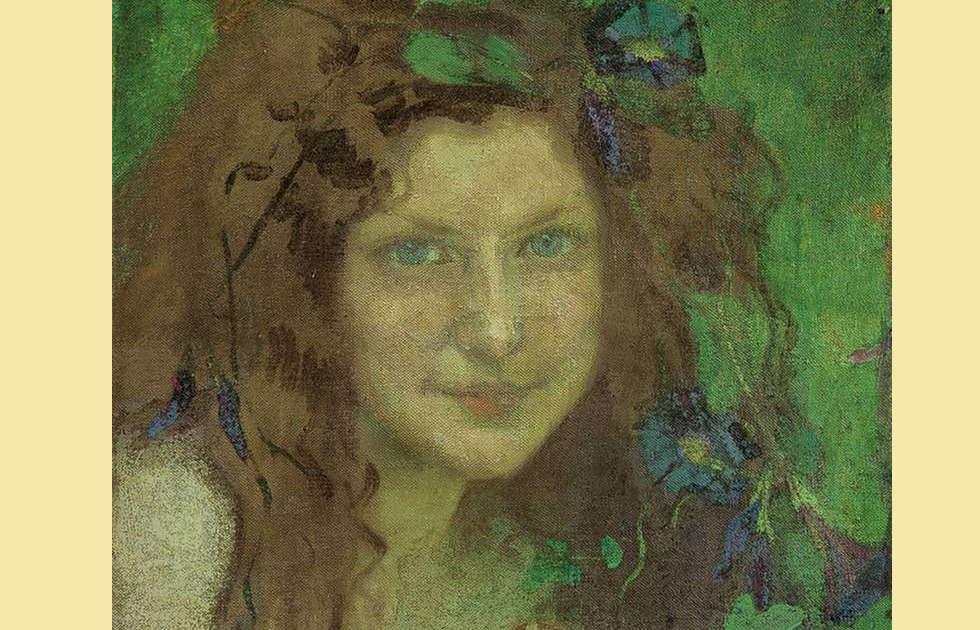 Julie Wolfthorn, Das Hexchen [Mädchen mit blaugrünen Augen] (2. Fassung), Detail, 1899, Öl/Lw, 39,8 x 32,6 cm (Sammlung Jack Daulton, Los Altos Hills, Kalifornien)