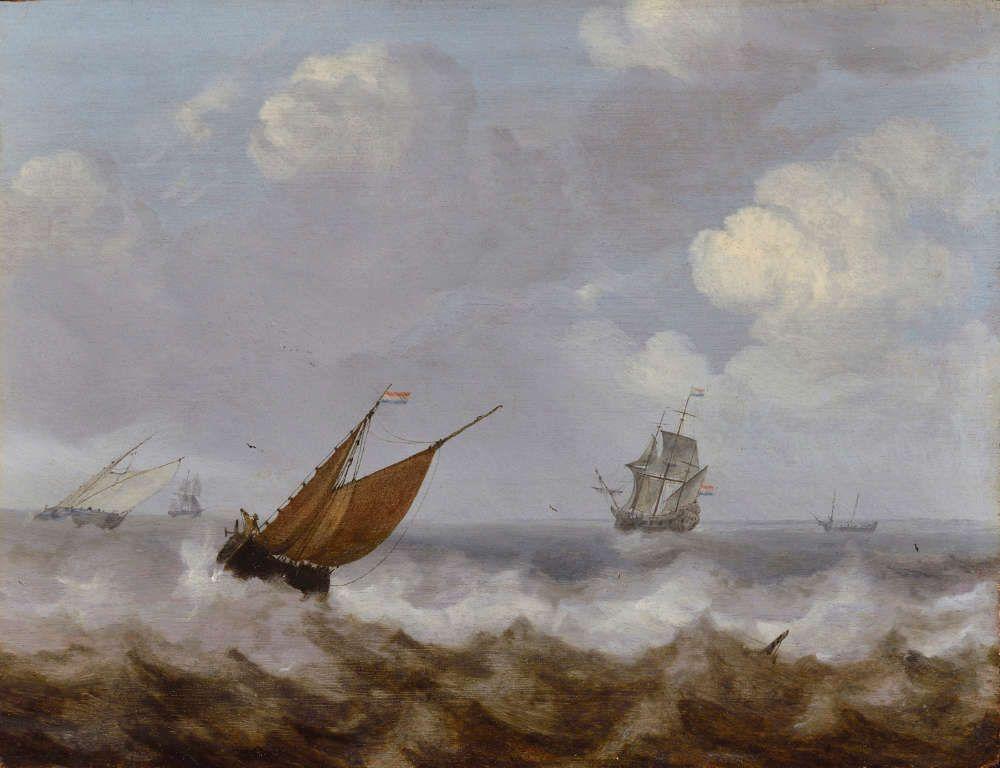 Julius Porcellis, Schiffe auf stürmischer See, o. J. (Staatliches Museum Schwerin / Ludwigslust / Güstrow © bpk, Staatliches Museum Schwerin / Ludwigslust / Güstrow, Foto: Göran Gnaudschun)