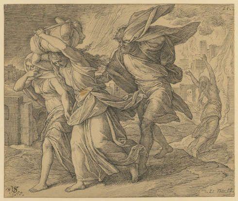 Julius Schnorr von Carolsfeld, Loth flieht mit seiner Familie aus Sodom, 1855, Feder in Grau über Bleistift, 22 x 26,2 cm (© Bildarchiv Hamburger Kunsthalle / bpk)