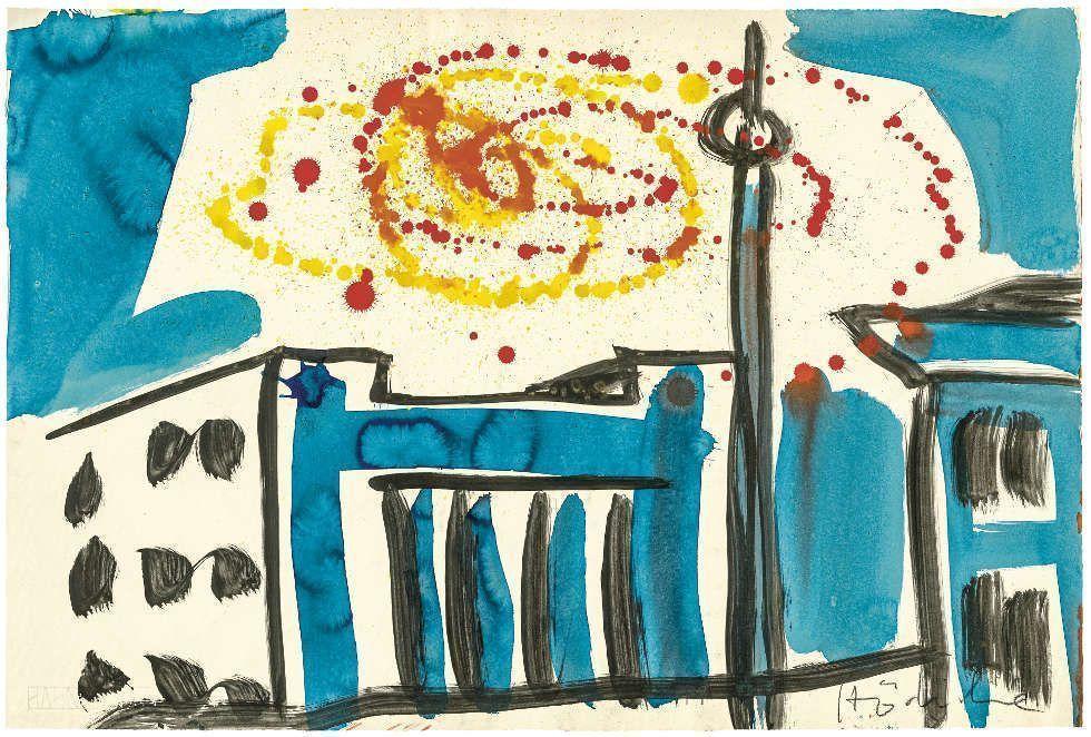 K. H. Hödicke, Monumentale Stadtansicht, 1976, Mischtechnik auf Papier, 606 x 897 mm (Foto: Staatliche Graphische Sammlung München © VG Bild-Kunst, Bonn 2020)