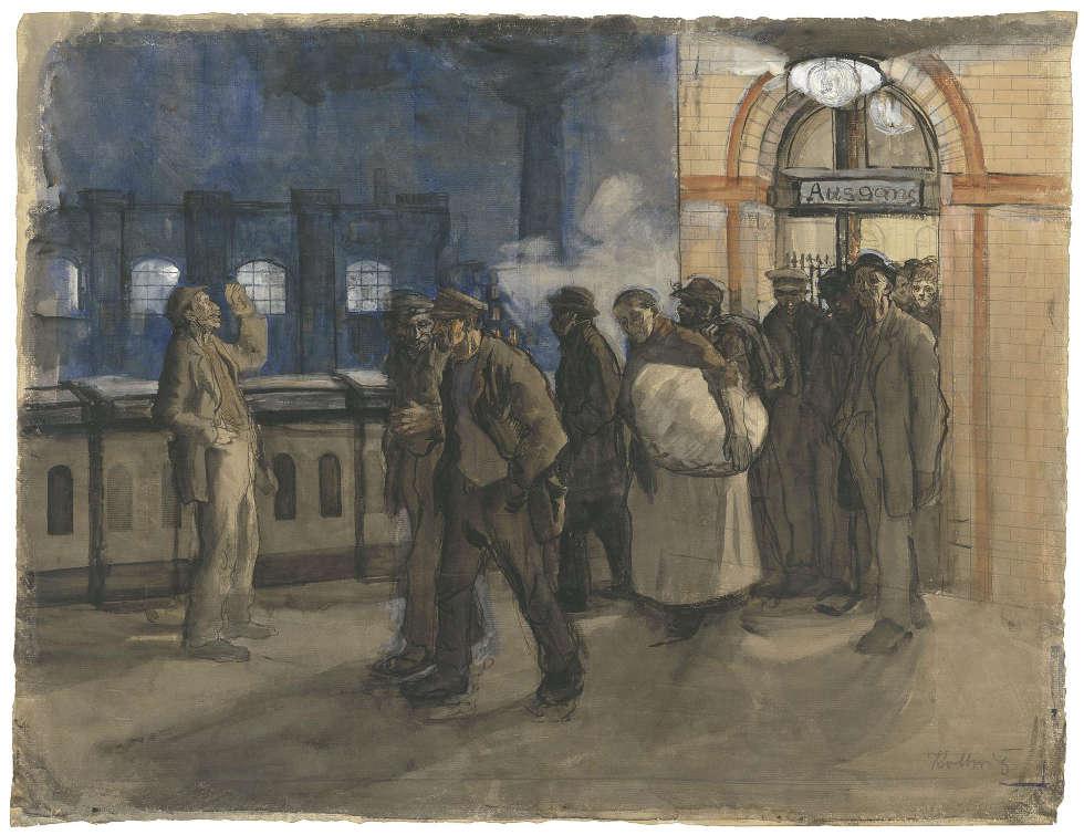Käthe Kollwitz, Arbeiter vom Bahnhof kommend (Bahnhof Prenzlauer Allee), 1897–1899, Pinsel in Wasserfarben (© Käthe Kollwitz Museum Köln)
