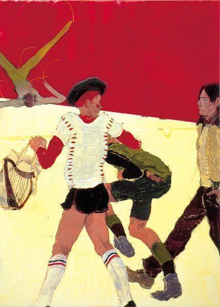 """Kai Althoff, Ohne Titel (four men, red and beige, aus der Serie """"Impulse""""), 2001, Bootslack, Papier, Aquarell, Firnis, 75 x 50 x 4,2 cm (Courtesy Sammlung Alexander Schröder © Kai Althof)"""