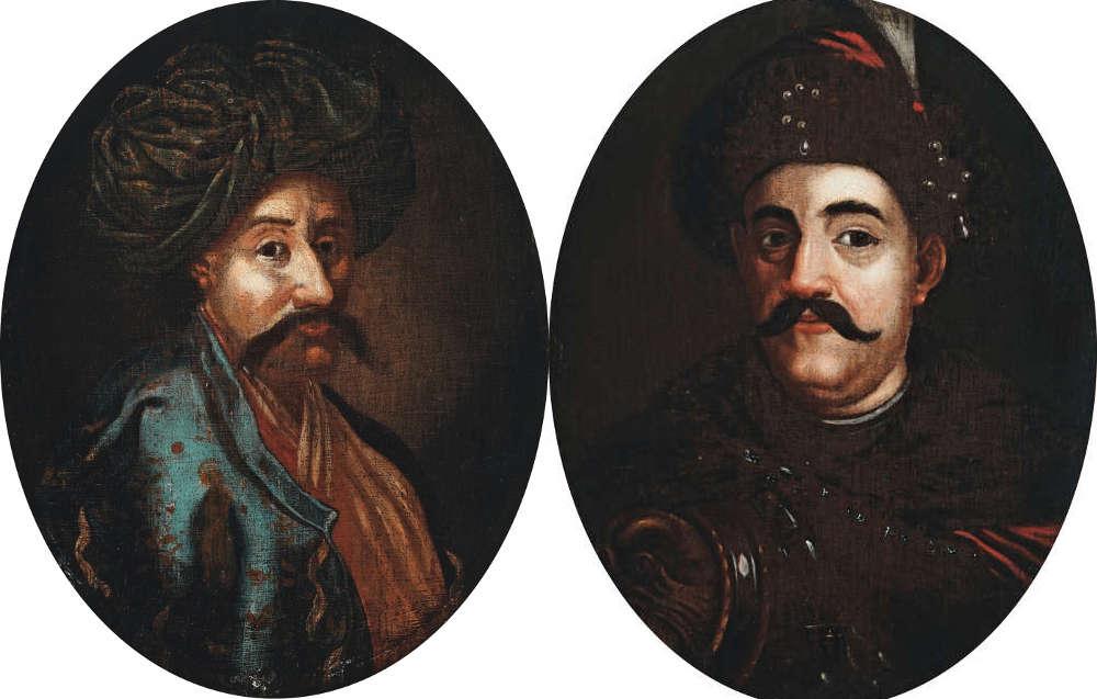 Anonymer Maler, Porträt von Kara Mustafa / Porträt von König Jan III. Sobieski, 18. Jahrhundert, Öl auf Eichenholz, je 18,6 × 14,5 cm (Warschau, Museum Schloss Wilanow)