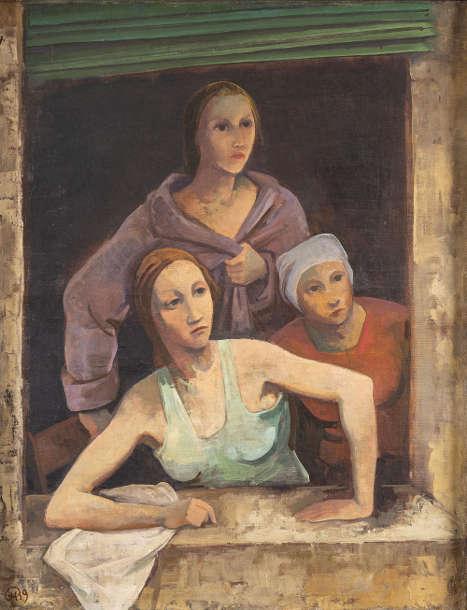 Karl Hofer, Drei Mädchen am Fenster, 1939, Öl auf Leinwand, 102 × 80 cm (Sammlung Fritz und Hermi Schedlmayer, Foto: Erich Hussmann, image industries © Bildrecht Wien, 2021)