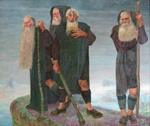 Karl Mediz, Die Eismänner, vor 1902, Öl auf Leinwand, 213 × 255 cm (© Belvedere, Wien)