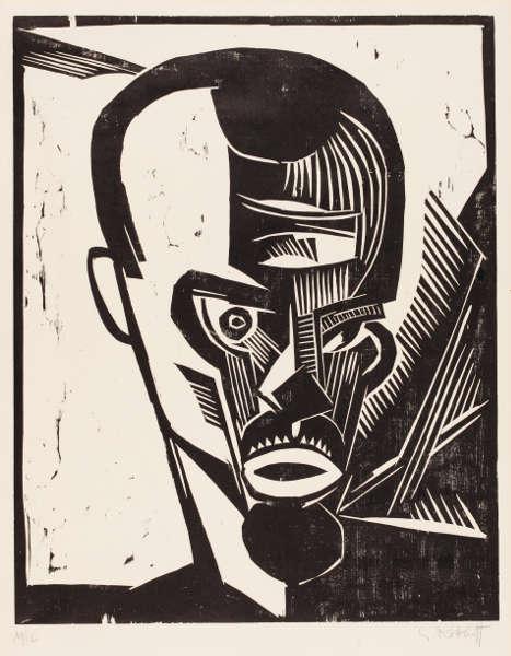Karl Schmidt-Rottluff, Selbstbildnis, 1919, Holzschnitt, 49,8 x 39,4 cm (Städel Museum, Frankfurt am Main, Graphische Sammlung © VG Bild-Kunst, Bonn 2018)