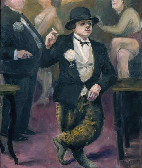 Karl Schwesig, Selbstbildnis im Karneval, 1930, Öl auf Leinwand, 134 × 114 cm (Kunstpalast, Düsseldorf, © Nachlass Karl Schwesig / Galerie Remmert und Barth, Foto: Stefan Arendt / LVR-ZMB)