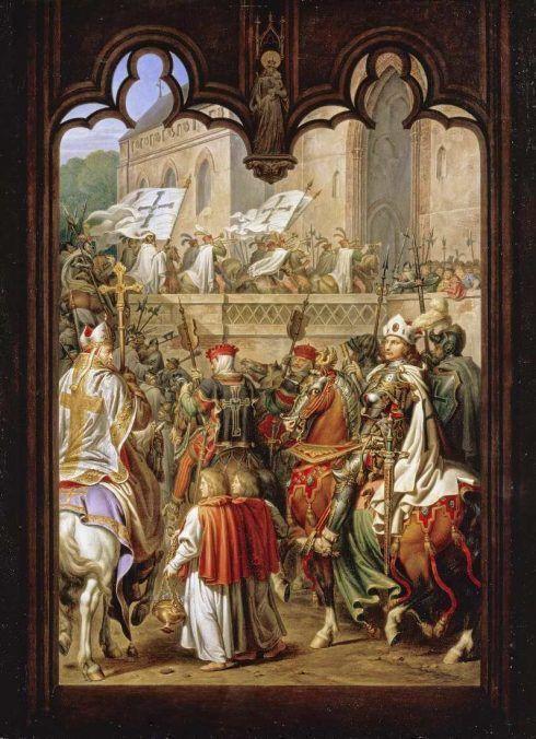 Karl Wilhelm Kolbe, Einzug des Hochmeisters Siegfried von Feuchtwangen mit seinen Rittern in die Marienburg, Öl auf Leinwand, 52,3 x 39 cm (© Staatliche Museen zu Berlin, Nationalgalerie / Andres Kilger)
