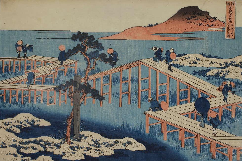 Katsushika Hokusai, Die achtteilige Brücke bei Mikawa, aus: Seltene Ansichten berühmter Brücken in verschiedenen Provinzen, um 1831/32, Farbholzschnitt, 23 x 34,5 cm (Privatsammlung, Wien)